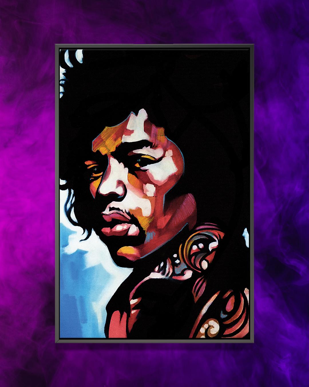 """Jimmi"" by Fernan Mora shows a multicolored portrait of Jimi Hendrix."
