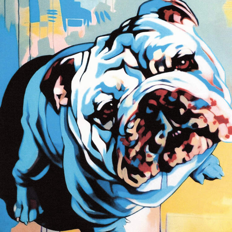 """""""Obedient"""" by Fernan Mora shows a bulldog against a pink, blue, yellow, and green background."""