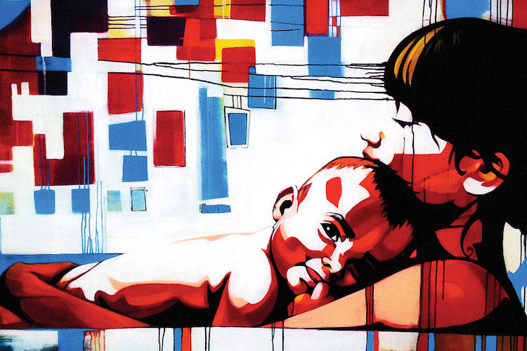 """""""Sacred"""" by Fernan Mora shows a woman holding a baby to her chest with blue, red, and black shapes in the background."""