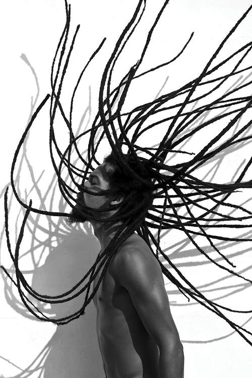 """""""Locs"""" by Gregory Prescott shows a black and white photo of the profile of a man with long dreads in the air"""