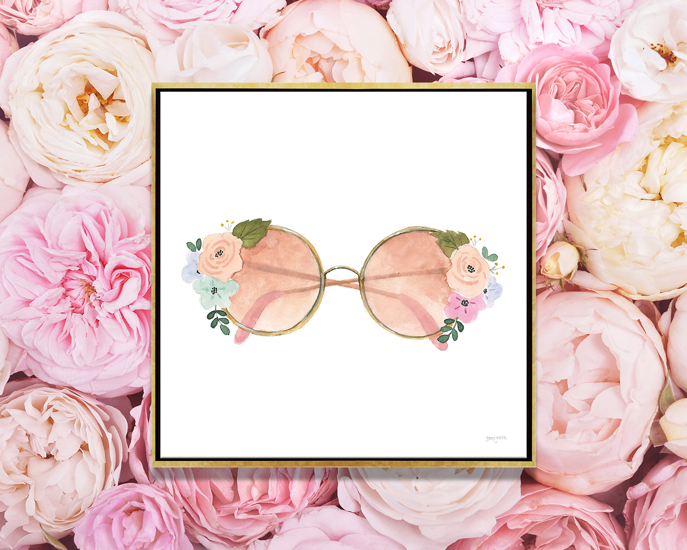 """""""Lets Chase Rainbows XX"""" by Jenaya Jackson shows rose-colored glasses with flower details on the rims."""