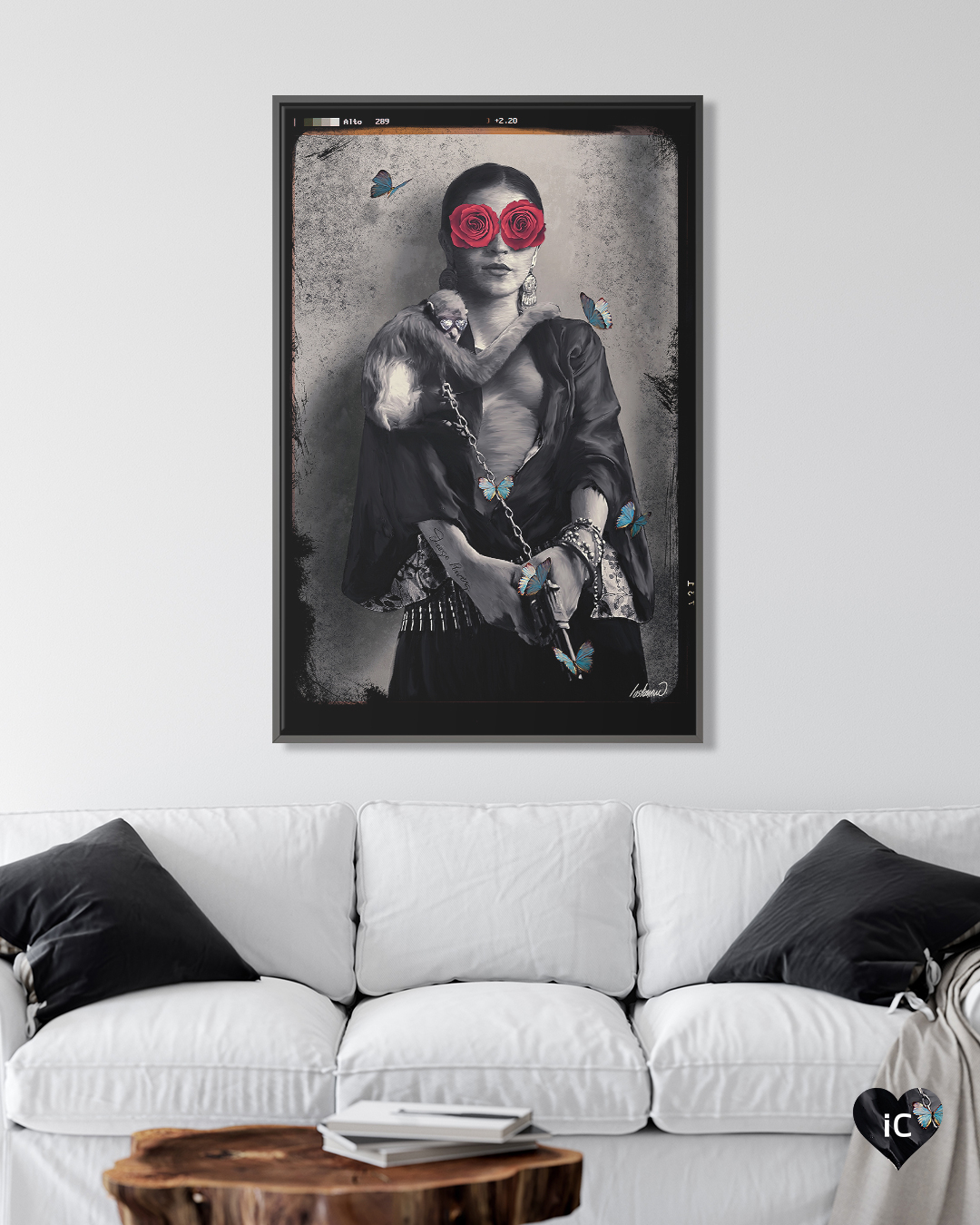 """""""Frida Kahlo My Treasure"""" by Lostanaw shows a black and white picture of Frida Kahlo with red roses covering her eyes and a monkey holding onto her while attached to a chain."""