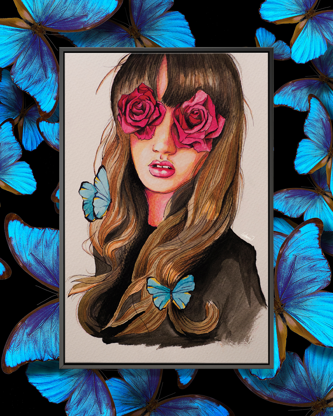 """""""Girl Flower Eyes Paint"""" by Lostanaw shows a girl with pink roses covering her eyes and blue butterflies in her brown hair."""