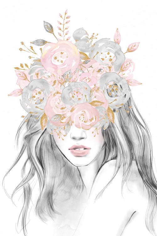 """""""Rose Gold Flower Girl"""" by Nature Magick shows a girl with a bouquet of pink, gold, and gray flowers over her eyes"""