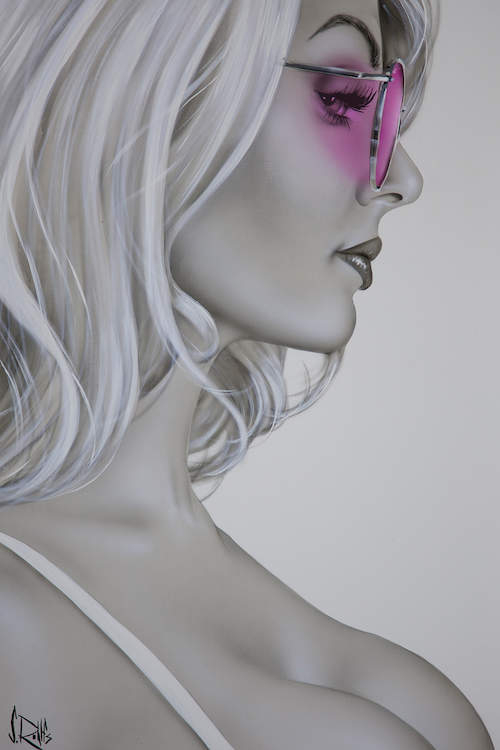 """""""Rose Colored Glasses"""" by Scott Rohlfs shows a black and white profile of a woman wearing pink sunglasses with her cleavage exposed."""