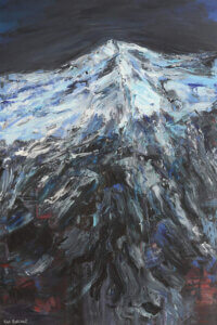"""""""Big Snow Mountain"""" by Vian Borchert shows snow on top of a charcoal-colored mountains."""
