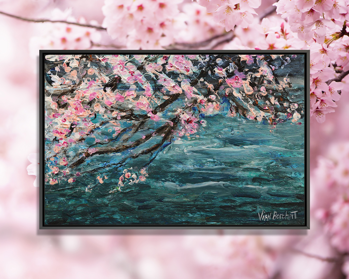 """""""Cherry Blossom Over Water"""" by Vian Borchert shows pink cherry blossom trees over a blue sea."""