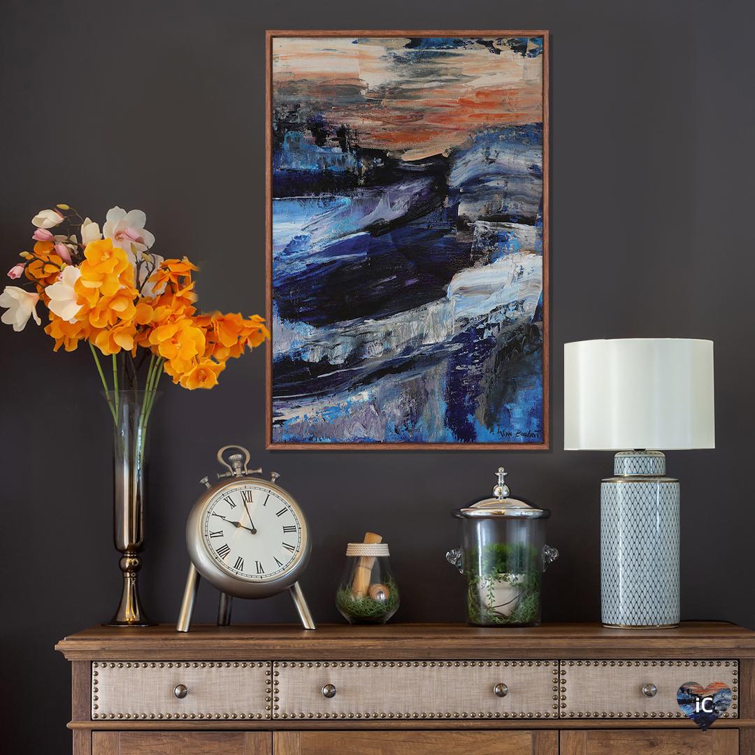 """Deep Blue"" by Vian Borchert shows streaks of blue, white, and orange."