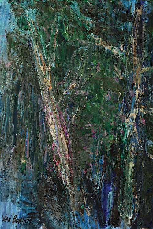 """""""Green Woods"""" by Vian Borchert shows textured green trees with long, brown trunks."""