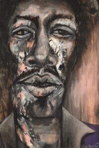 """Jimi Hendrix"" by Vian Borchert shows a close up of Jimi Hendrix's face."