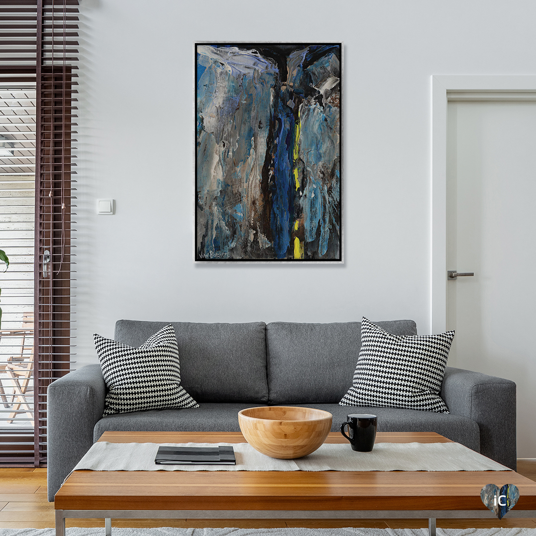 """Light Blue Dark Blue"" by Vian Borchert shows streaks of gray, blue, and yellow."