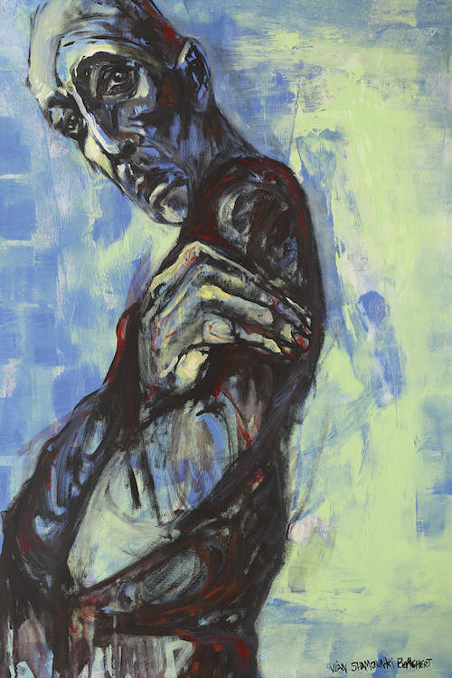 """""""Man"""" by Vian Borchert shows a blue man standing sideways while wrapping his arms around his chest."""