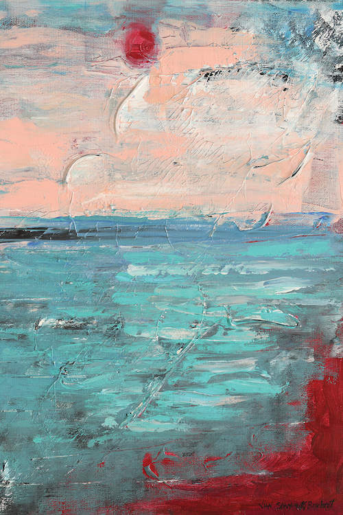 """""""Sunset"""" by Vian Borchert shows a red sun in a pink sky above a blue sea."""