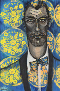 """""""The Matador"""" by Vian Borchert shows a gray man wearing a blue suit and bowtie with a yellow pattern on them and a matching background."""