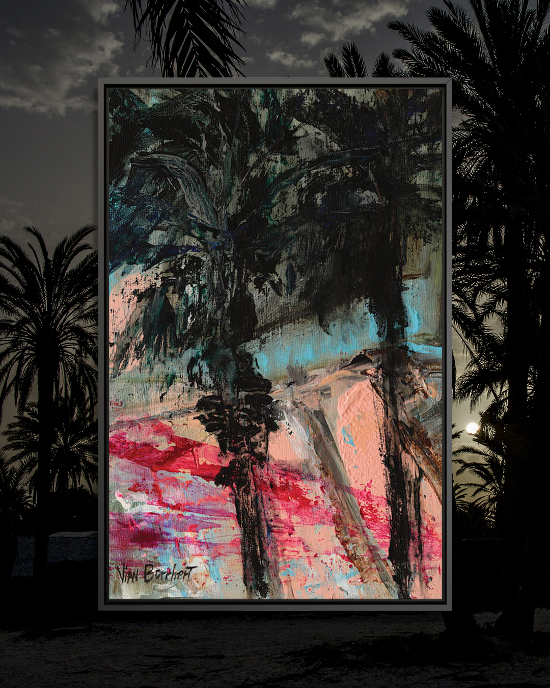 """""""Twilight Palm Trees"""" by Vian Borchert shows black palm trees against a pink and red background."""