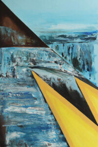 """""""Two Yellow Triangles"""" by Vian Borchert shows two yellow triangles with icy-blue streaks in the background."""