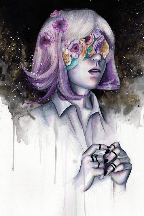 """""""Blinded II"""" by Victoria Olt shows a woman with purple hair and purple, pink, and yellow flowers covering her eyes with a starry sky in the background."""