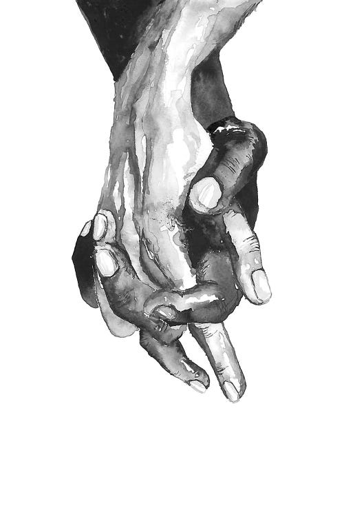Illustration of a black and white person's hands held together
