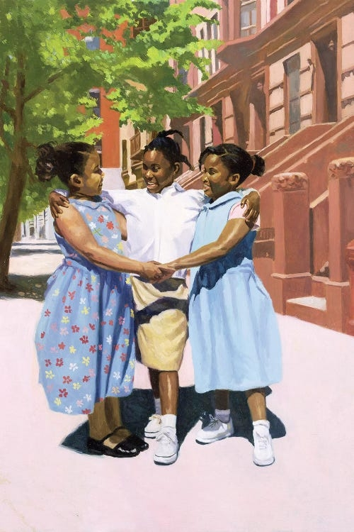 Three black grade school-aged girls wearing dresses smiling and holding hands on a sidewalk