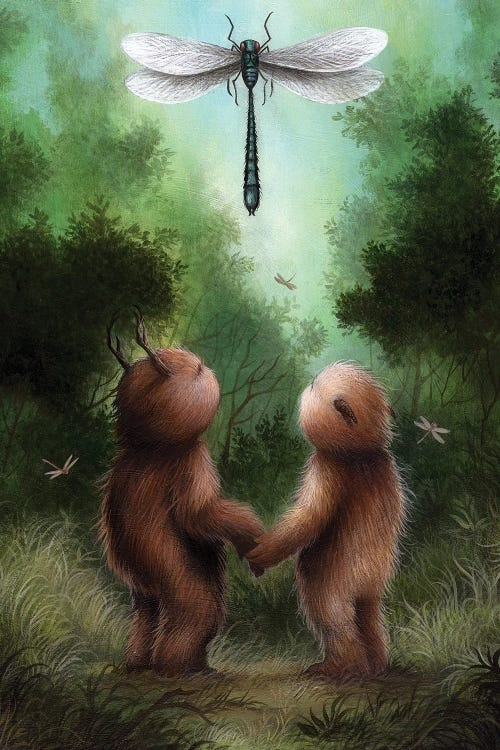 Two furry creatures holding hands in a forest looking up at a giant dragonfly above them