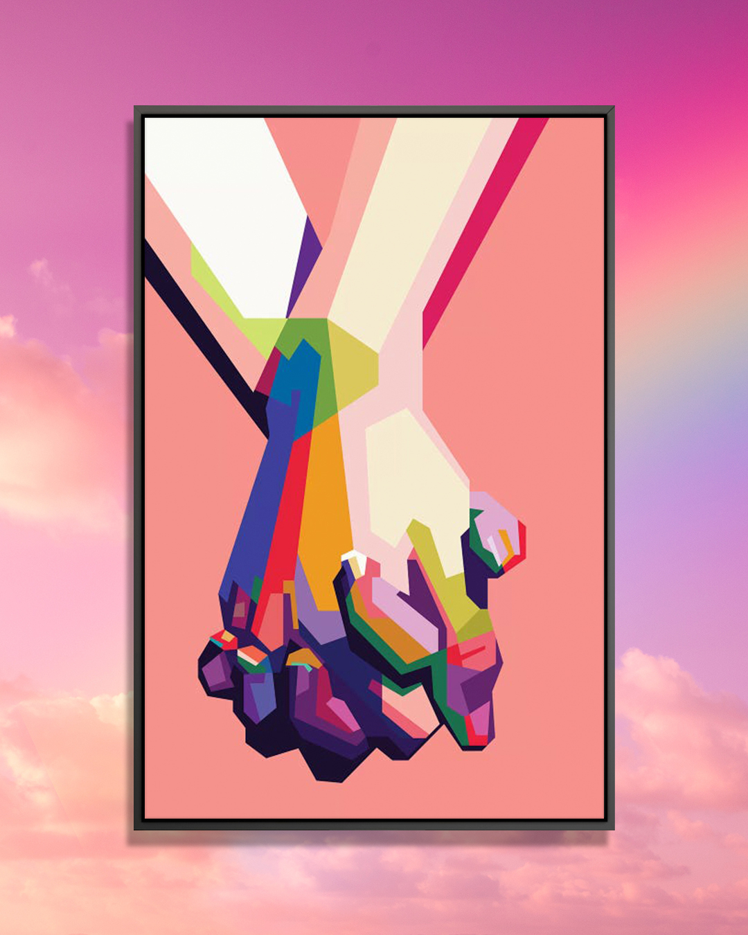 An image of two colorful hands held together against a pink background