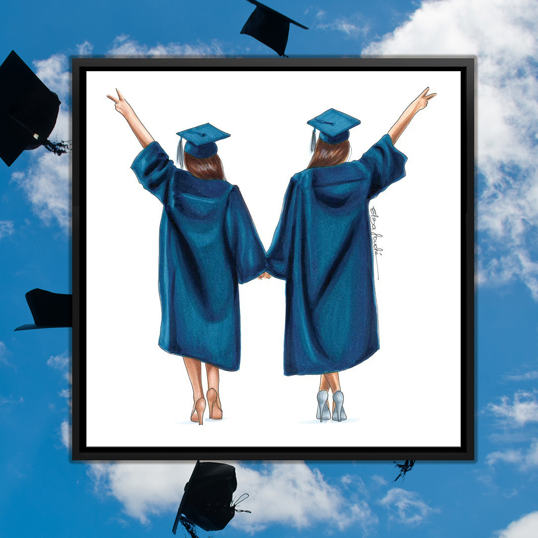 Illustration of two girls wearing graduation caps and gowns holding hands and making peace signs