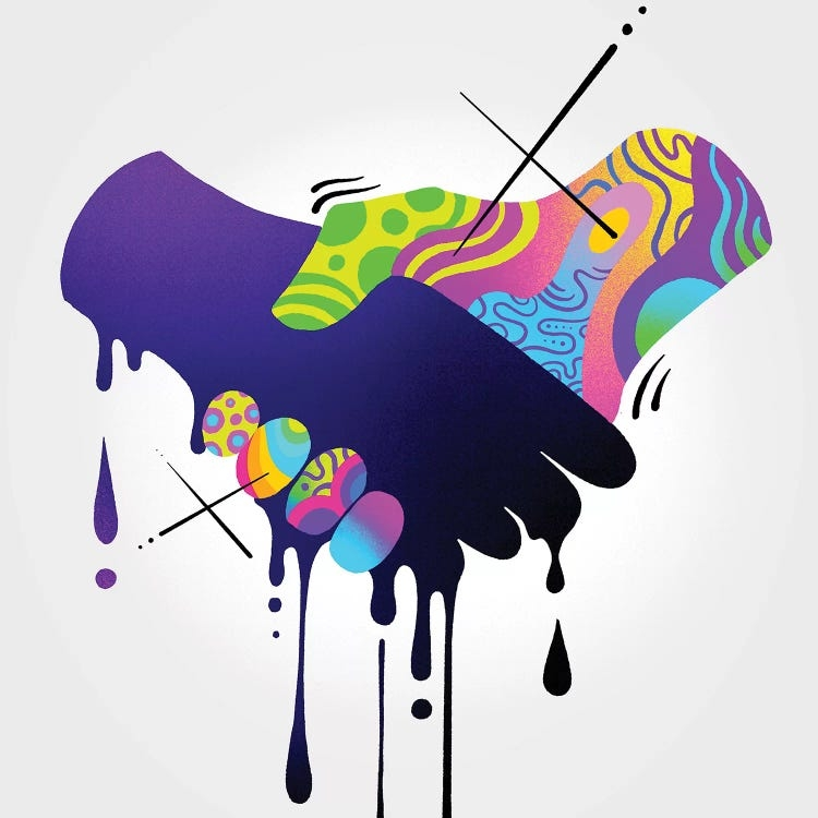 A graphic of a dark blue and multi-colored pattern hands held together