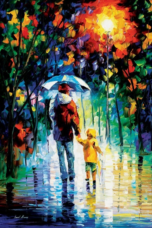 A man wearing a red jacket holding an umbrella holding hands with a young child wearing a yellow raincoat walking on a rainy street under trees
