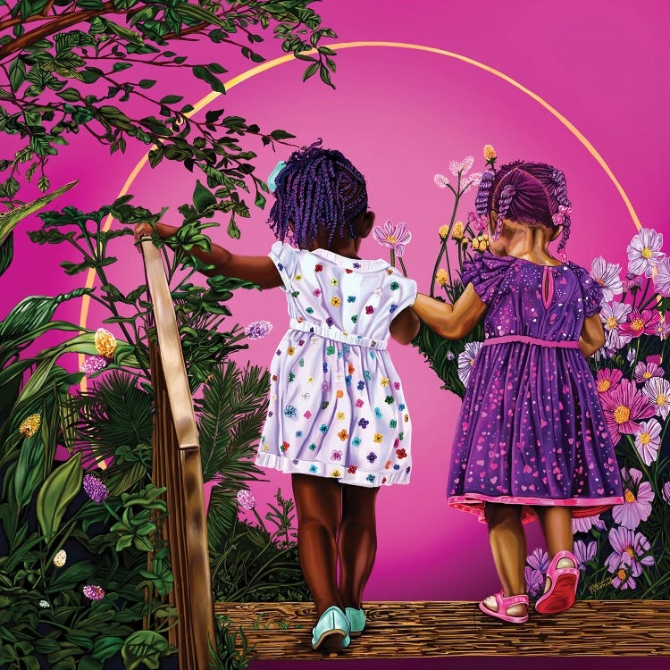 Two black toddler-aged girls wearing colorful dresses holding hands and walking through gold circle bordered with flowers
