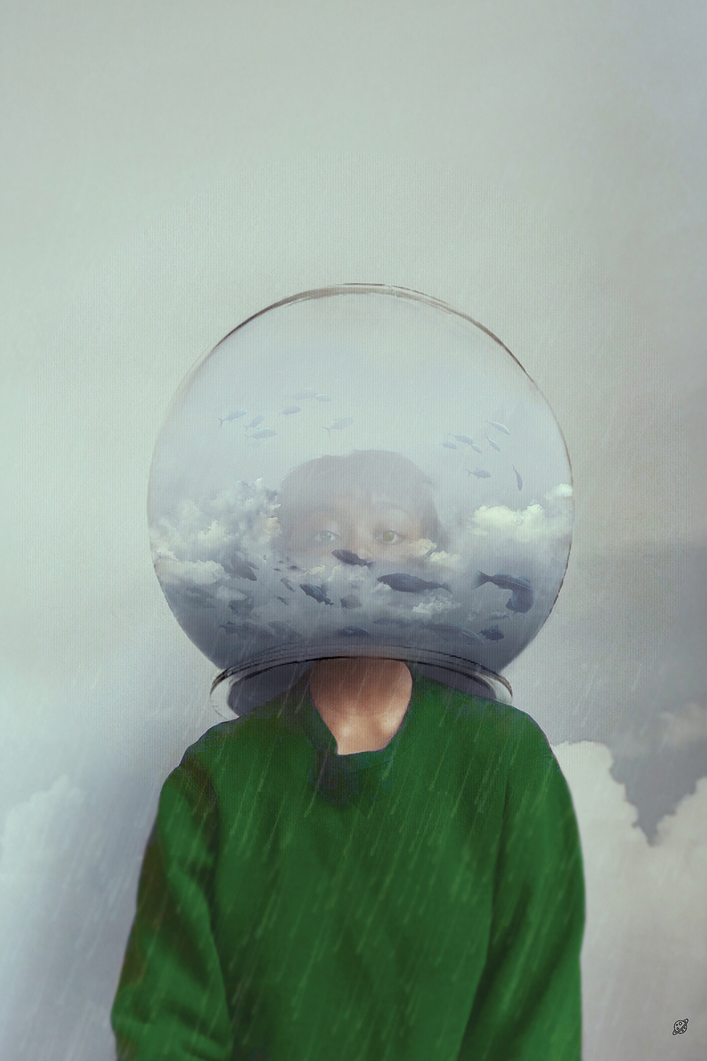 Forever Rain by Deandra Lee showcases a woman wearing a green sweater with a clouded fishbowl over her head