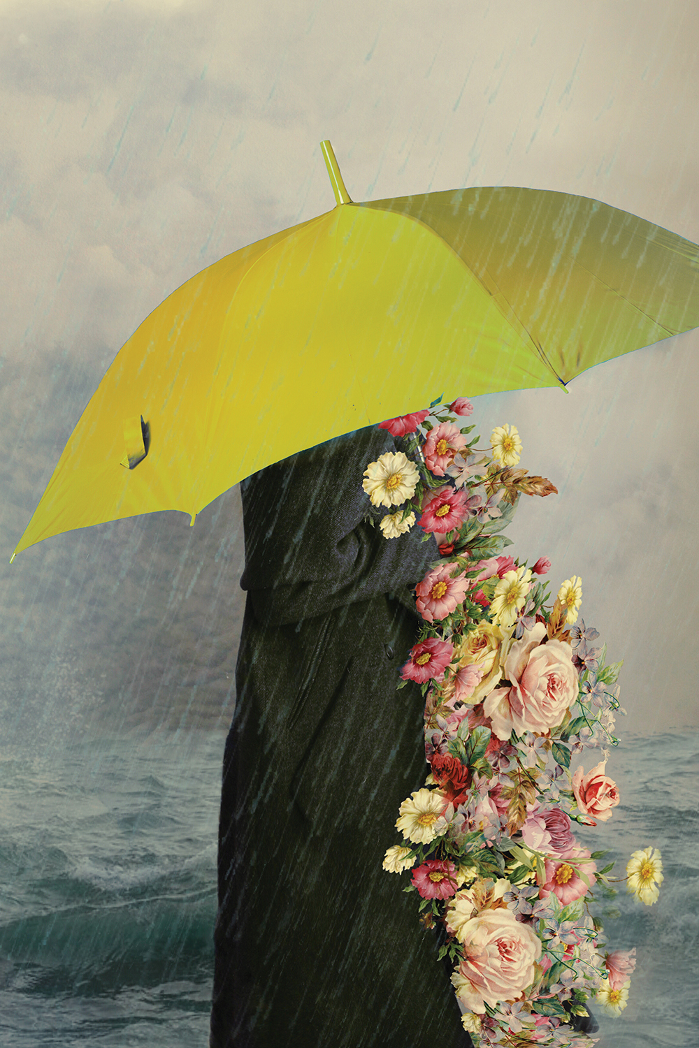 Healing by Deandra Lee shows a person holding a yellow umbrella while engulfed in colorful florals