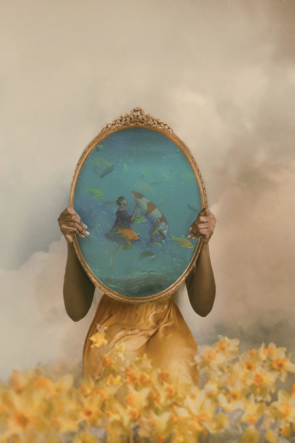Big Fish by Deandra Lee showcases a woman standing in yellow flowers while holding a gold photo showing a woman underwater with fish