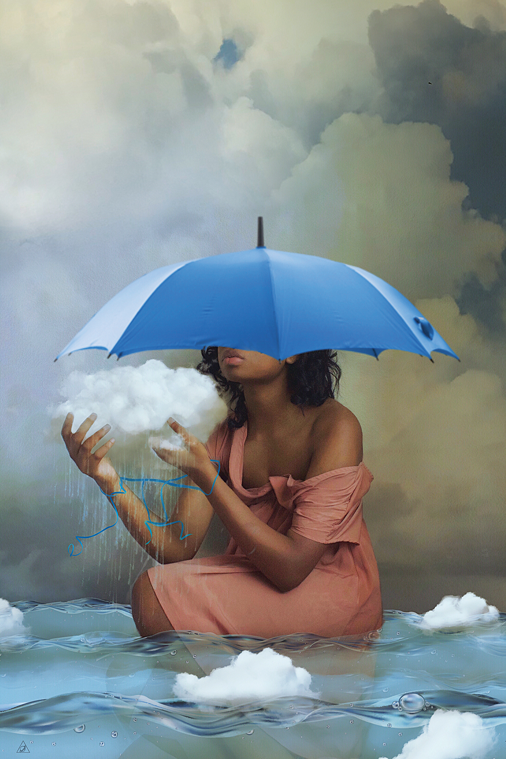 Right Or Wrong by Deandra Lee showcases a woman wearing a pink dress with a blue umbrella over her head while holding a cloud and sitting in water