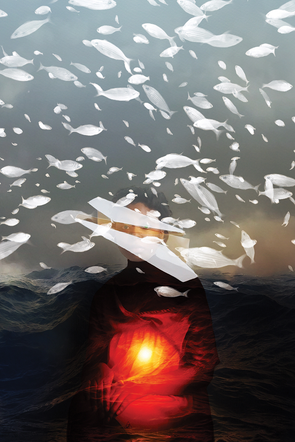 Untitled II by Deandra Lee shows a woman with a red light shining on her body and white fish floating above her with mountains in the background