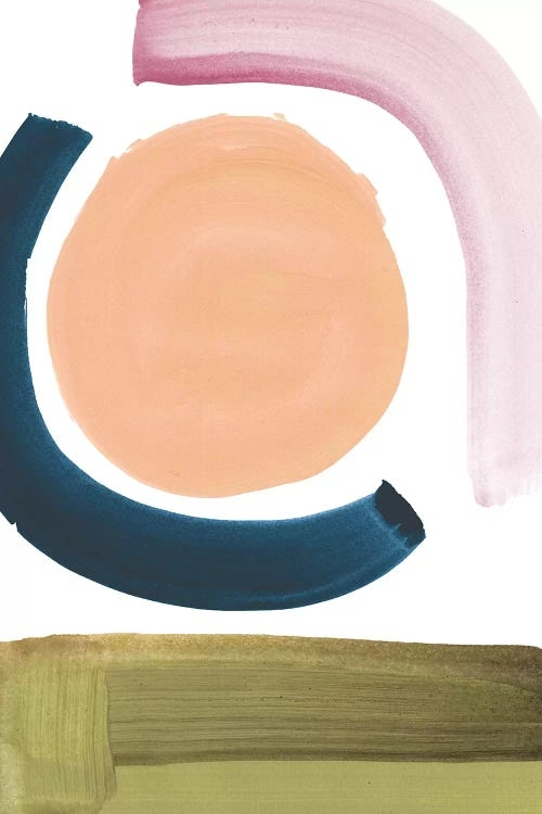 Carbon by Dan Hobday showcases a minimalist abstract image with two curved brush strokes in dark blue and pink, a circle in beige, and the bottom covered in olive green, against a white background