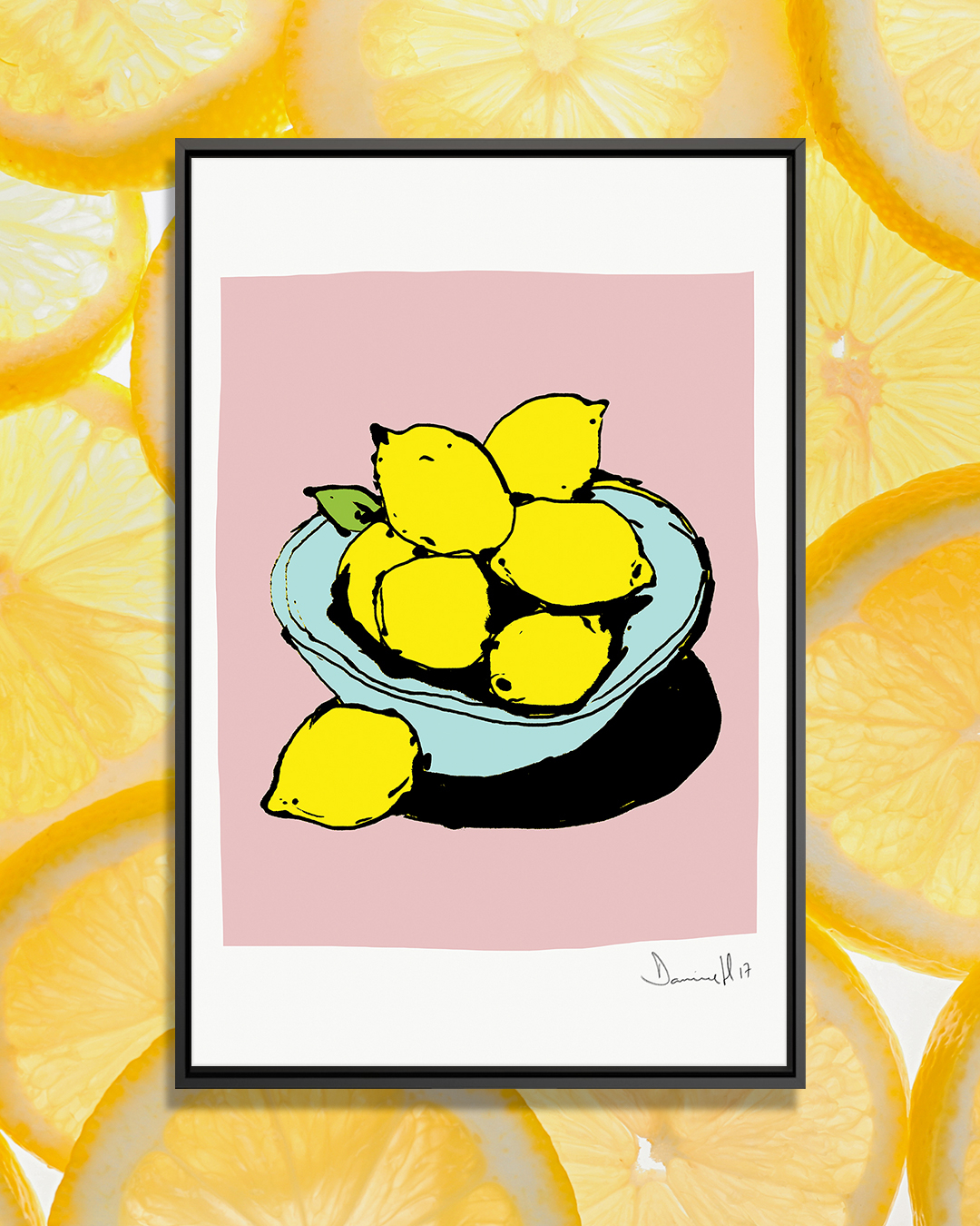 Lemons by Dan Hobday showcases a minimalist line illustration of seven lemons sitting in a blue bowl against a pink background