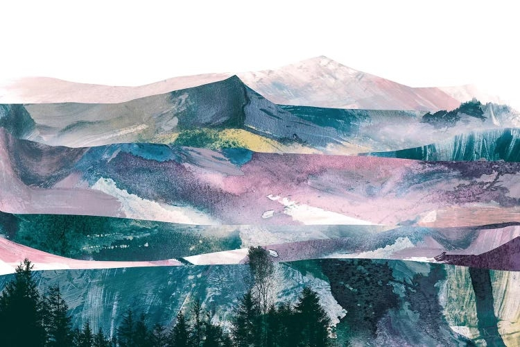 Pink Range by Dan Hobday showcases an abstract mountain landscape with silhouetted trees at the bottom, and mountain peaks in dark blue, purple, and light pink against a white background
