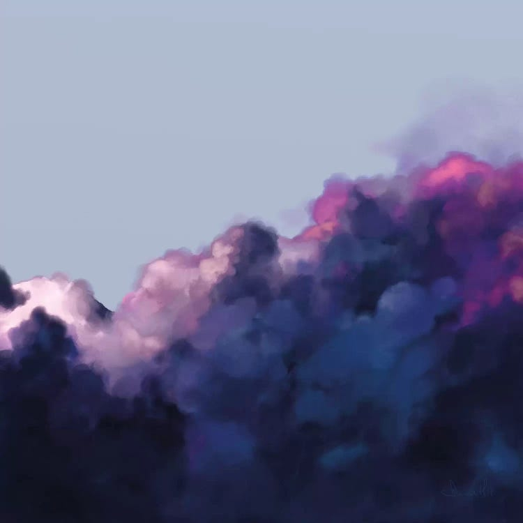 Skies by Dan Hobday showcases a photograph of dark blue, purple and pink clouds gathering in a dark blue sky