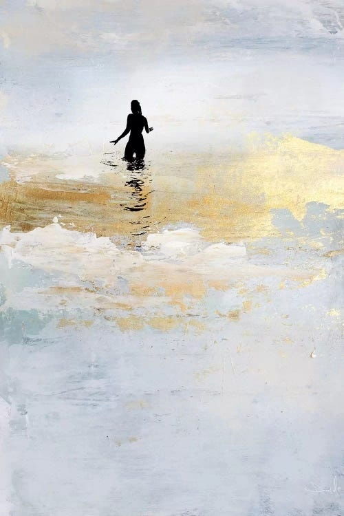 Sun Dip by Dan Hobday showcases an abstract image in gray, light blue, with a streak of gilded gold resembling a surface of water with the silhouette of a woman standing in it