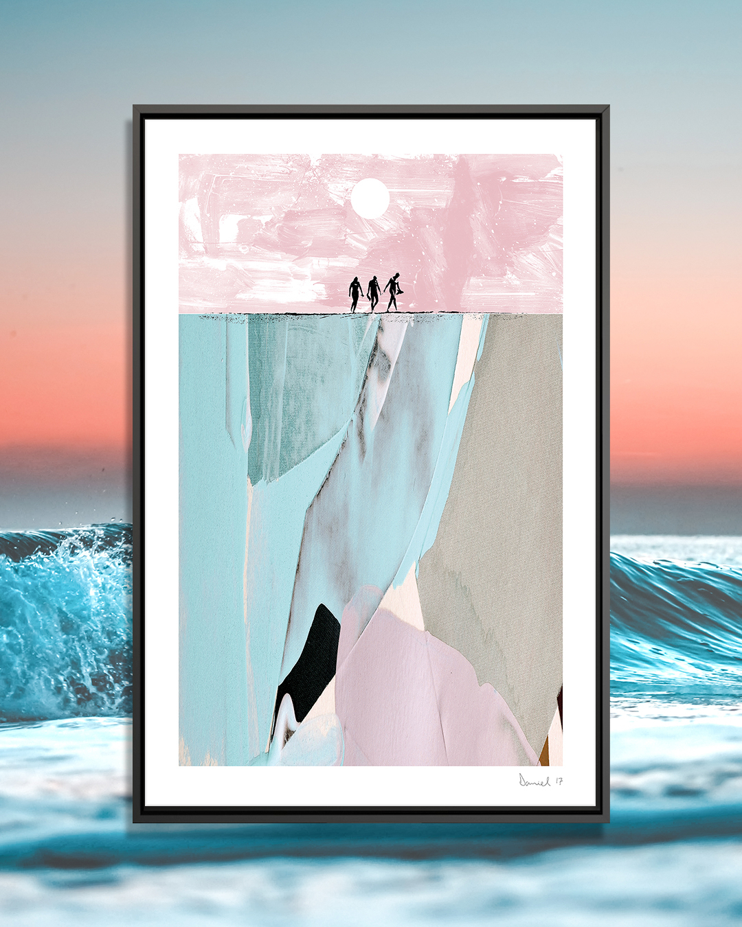 Surfers by Dan Hobday showcases an abstract image in light blue, light pink, black, and gray, with a black line resembling a ground surface with silhouettes of three surfers walking across it