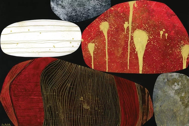 Bloodstone by Jane Monteith shows five rocks with various textures and colors such as red, white, gray, black and gold