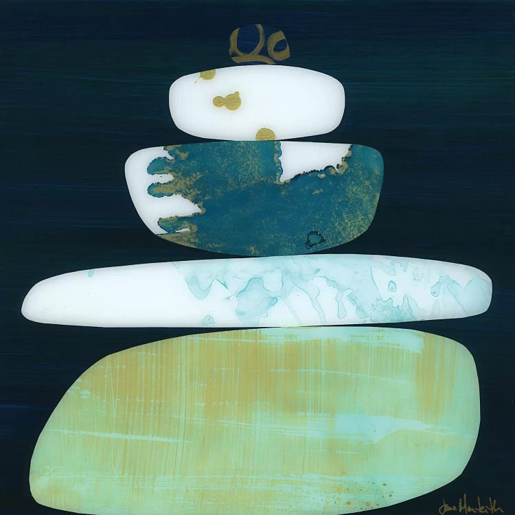 Calm II by Jane Monteith shows five rocks stacked on top of each other with various textures and colors such as white, navy blue, teal, gold, and light green