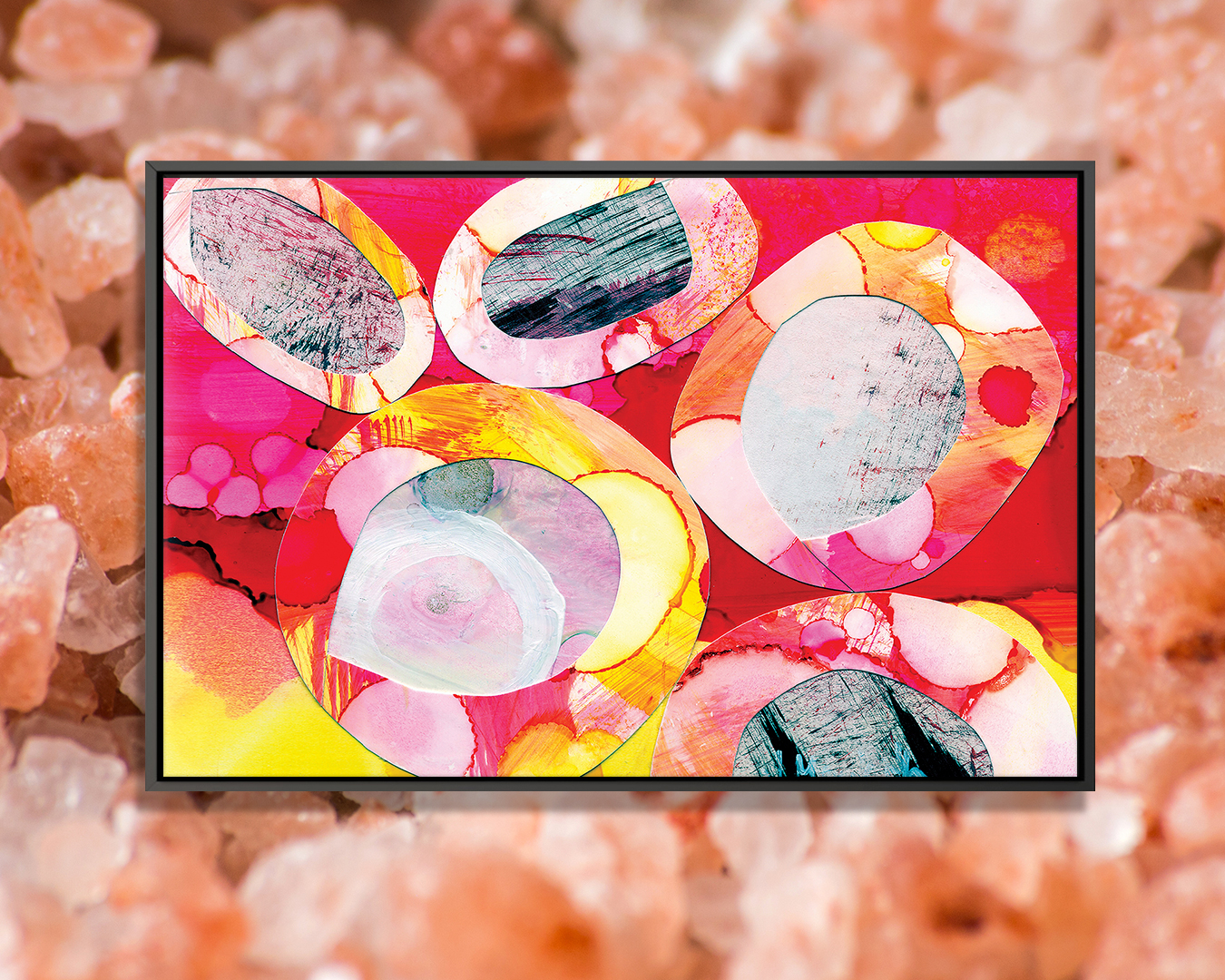 Candy by Jane Monteith shows a cluster of multi-colored rocks in pink, orange, red, yellow, white, and black