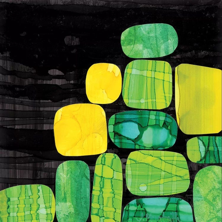 Stones by Jane Monteith shows a group of thirteen yellow, blue and green rocks with various textures