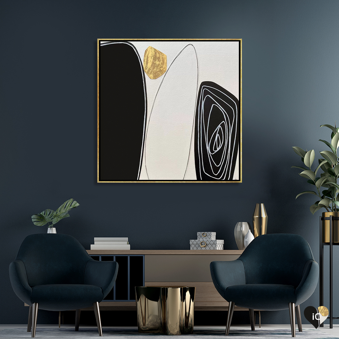 Tetrad by Jane Monteith shows a minimalist image of four rocks in black, white, and gold