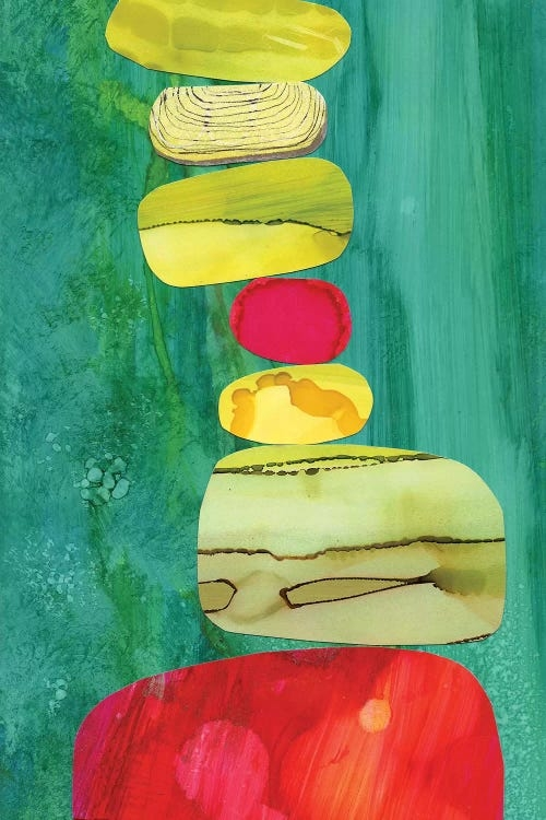 Tipsy by Jane Monteith shows a tall stack of red, yellow, and green rocks with various textures