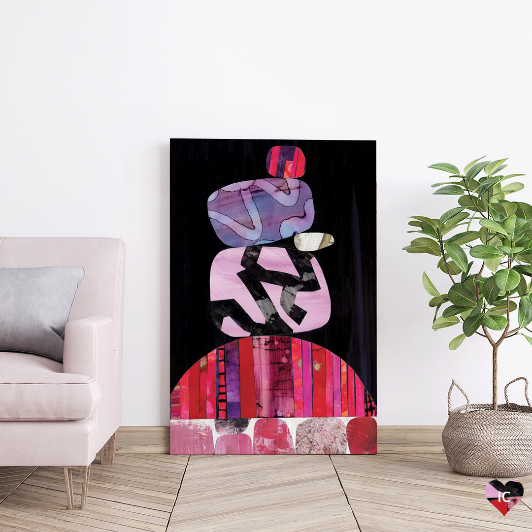 Tokyo by Jane Monteith shows a stack of five rocks with bold textures in pink, purple, light blue, and black