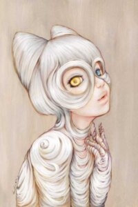 Hairball by Camilla d'Errico shows a girl with one yellow and one blue eye with white hair draped around her body