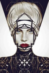 Detachment by Giulio Rossi shows a female with white hair and red lips wearing a black and gold futuristic suit