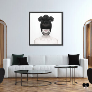 Black Widow by Martina Nemcekova shows a portrait of a woman with dark hair covering her eyes wearing a black flower crown